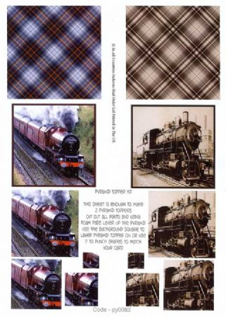 Vintage Steam Trains Pyramid 3D Decoupage Sheet